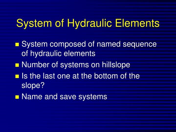 System of Hydraulic Elements