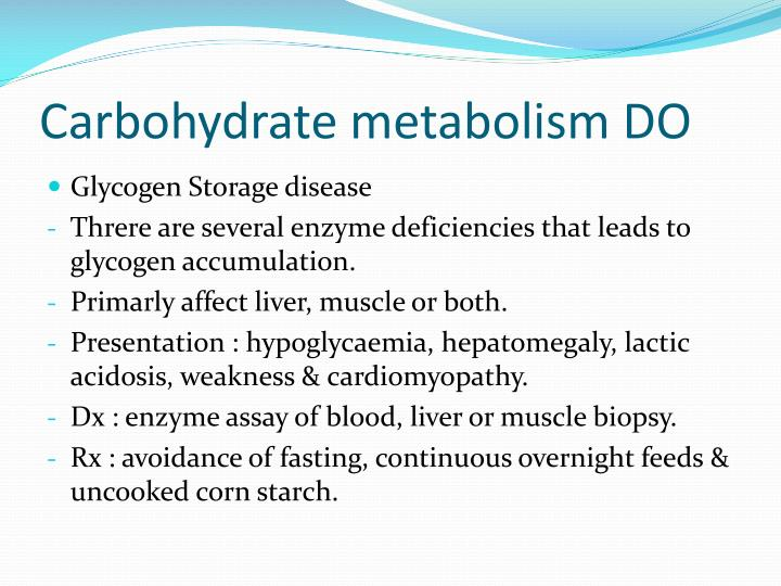 Carbohydrate metabolism DO