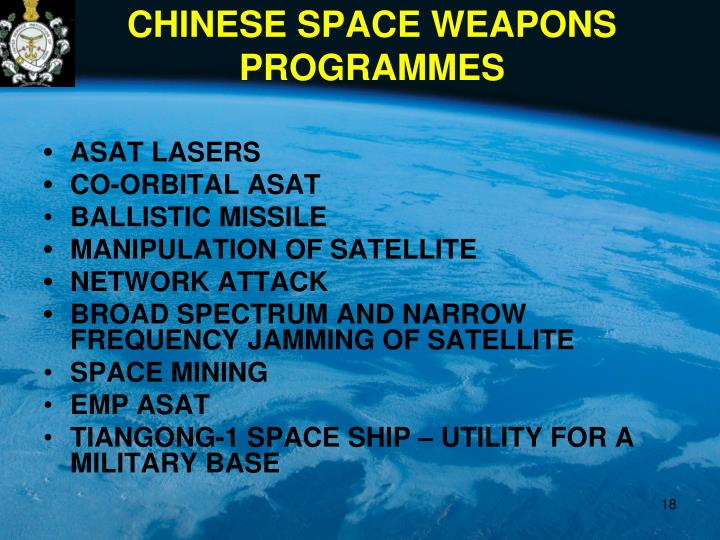 CHINESE SPACE WEAPONS PROGRAMMES