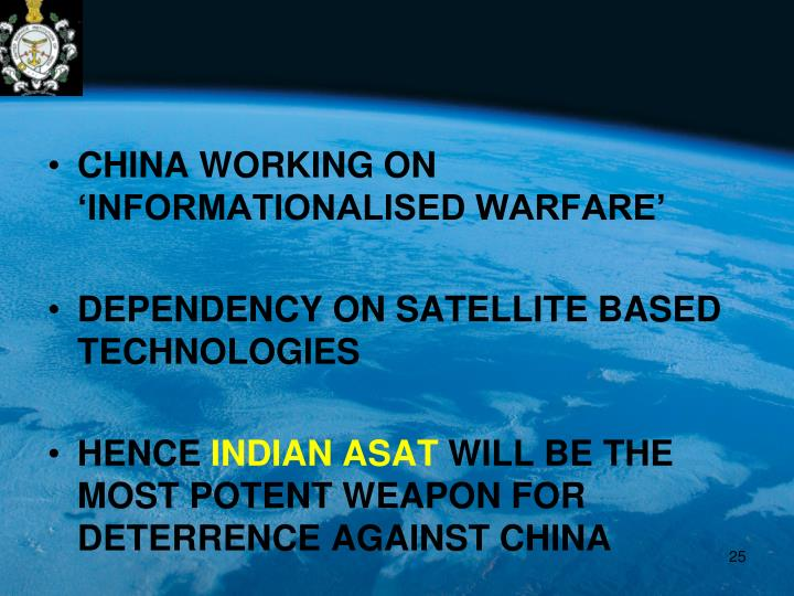 CHINA WORKING ON 'INFORMATIONALISED WARFARE'