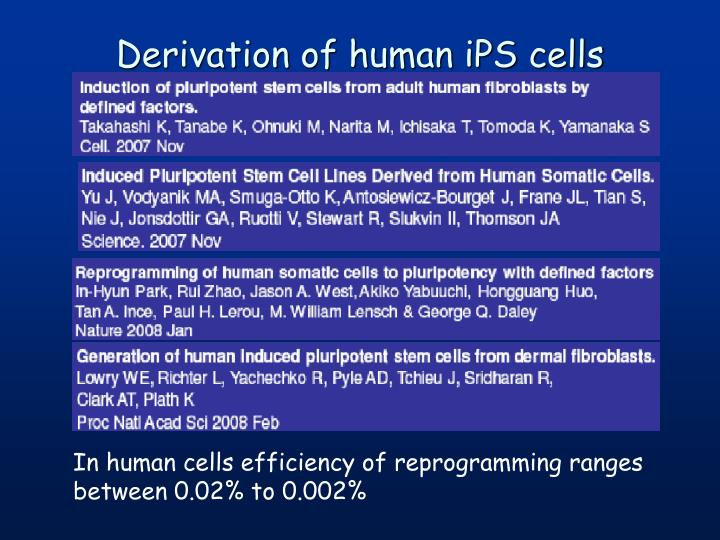 Derivation of human iPS cells