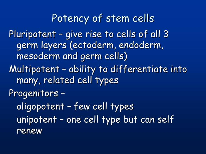 Potency of stem cells