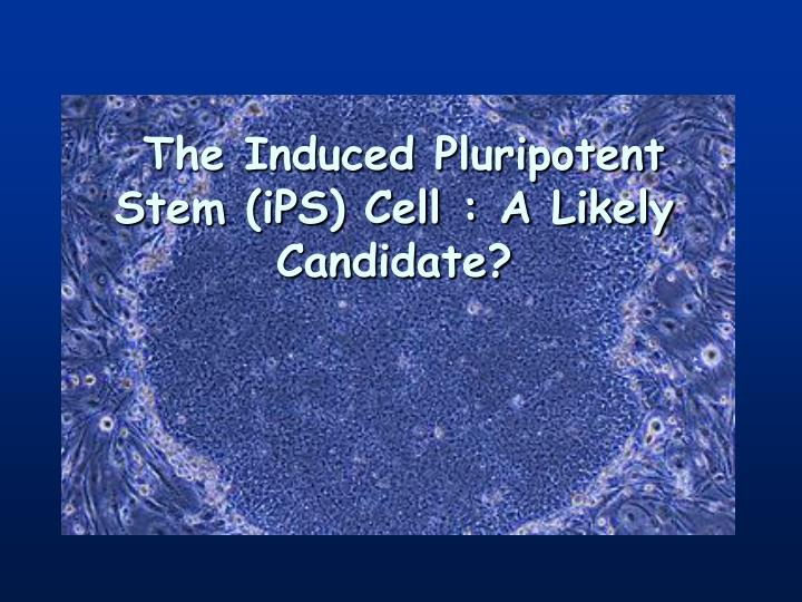 The Induced Pluripotent Stem (iPS) Cell : A Likely Candidate?