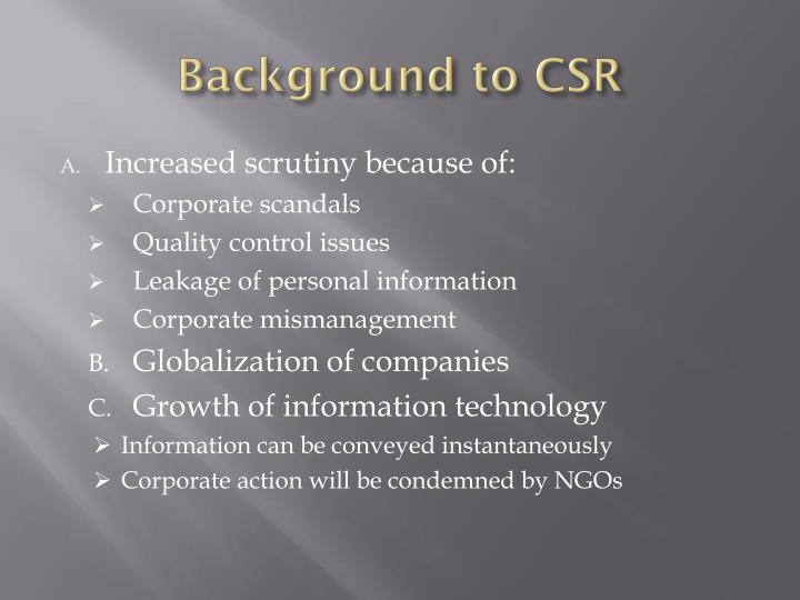 Background to CSR