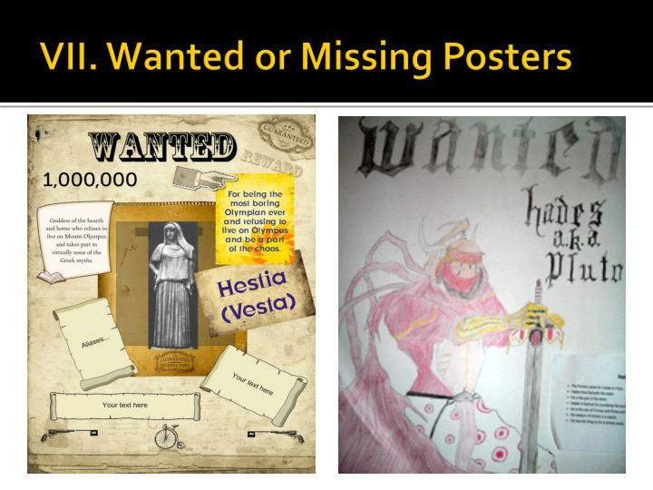 VII. Wanted or Missing Posters