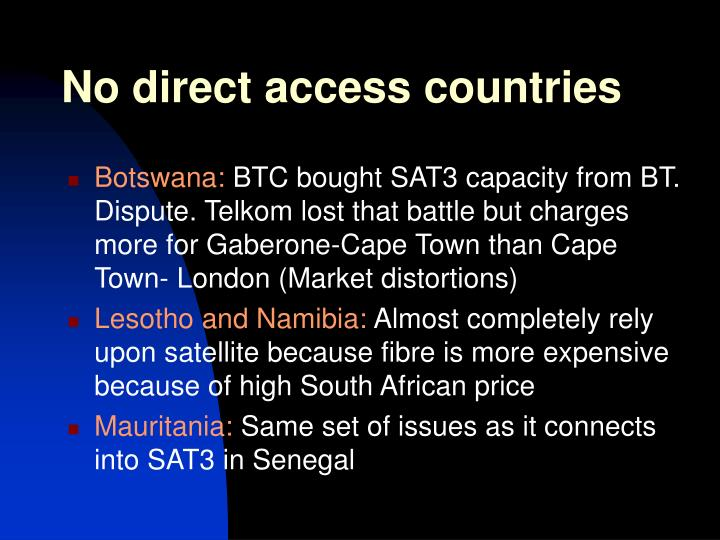 No direct access countries