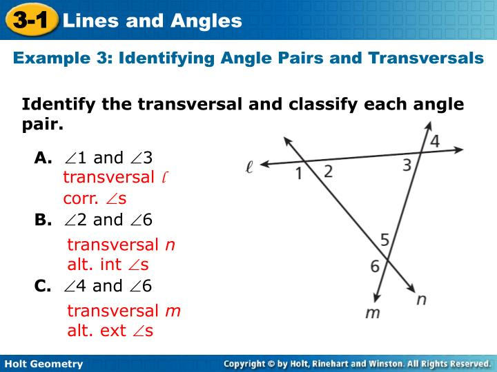 Example 3: Identifying Angle Pairs and Transversals