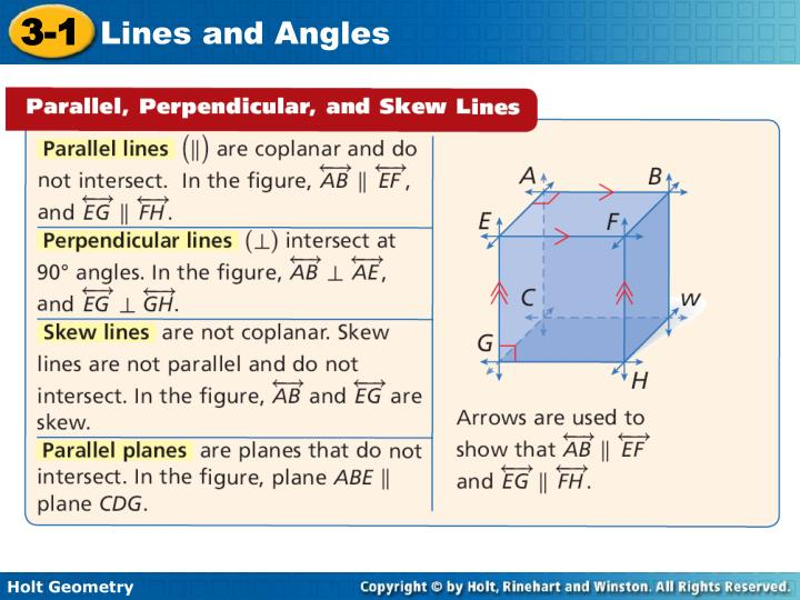 Identify parallel perpendicular and skew lines