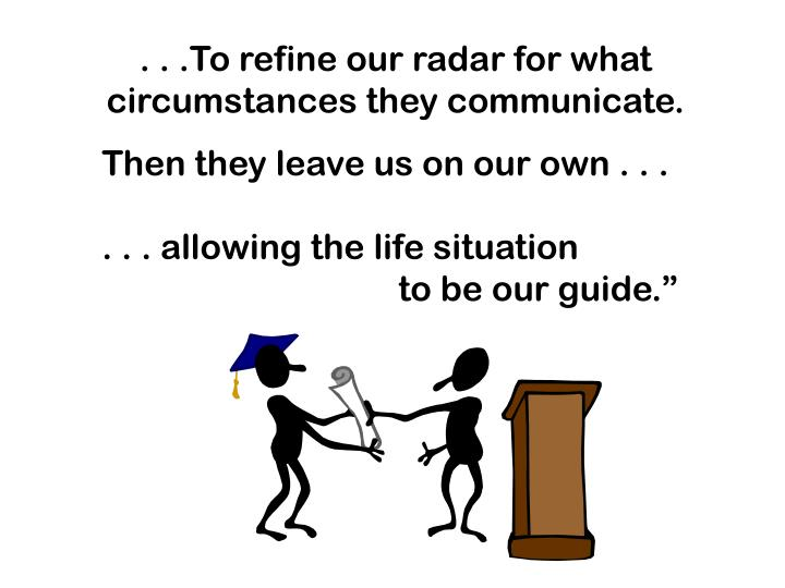 . . .To refine our radar for what circumstances they communicate.