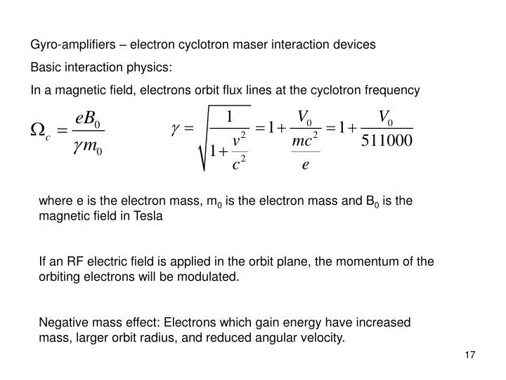 Gyro-amplifiers – electron cyclotron maser interaction devices