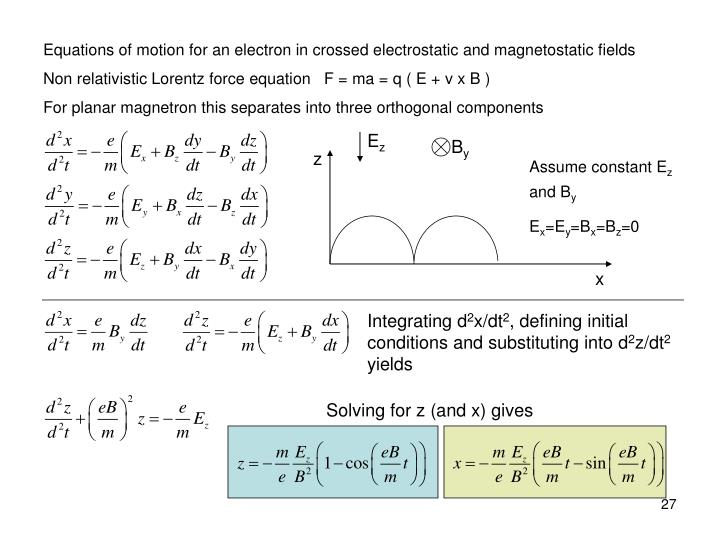 Equations of motion for an electron in crossed electrostatic and magnetostatic fields