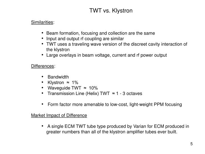 TWT vs. Klystron