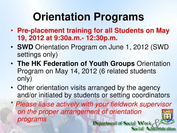 Orientation Programs