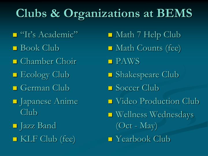 Clubs & Organizations at BEMS