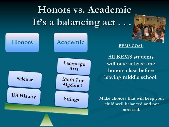 Honors vs. Academic