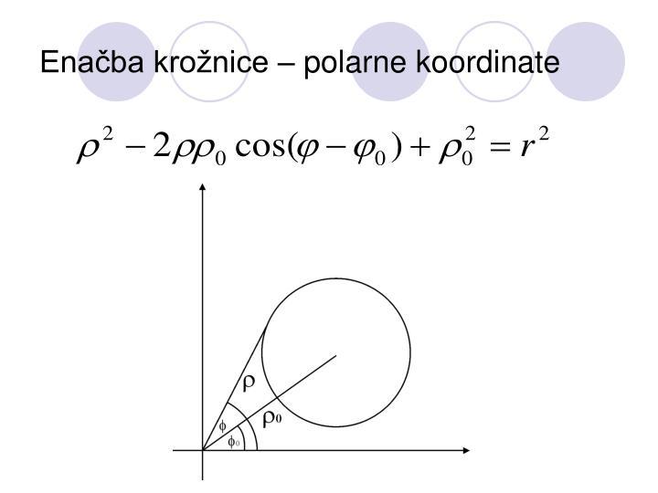 Enačba krožnice – polarne koordinate