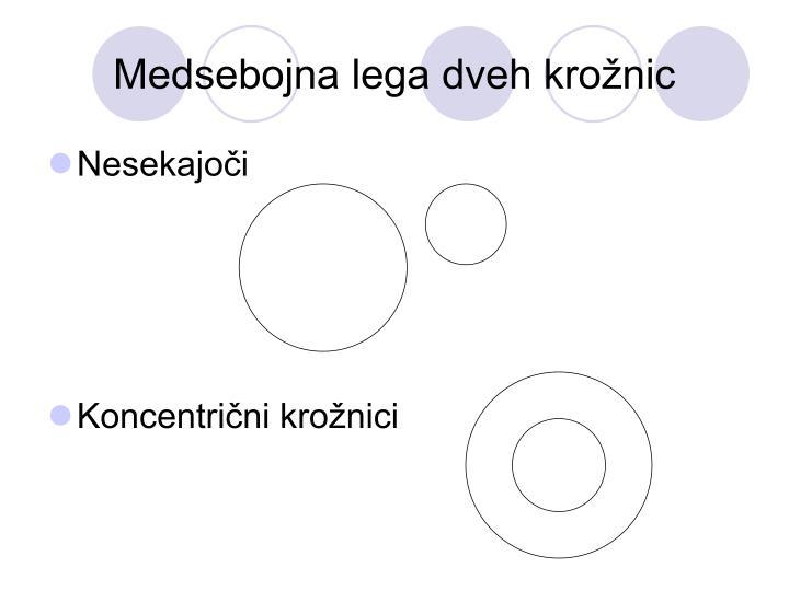 Medsebojna lega dveh krožnic