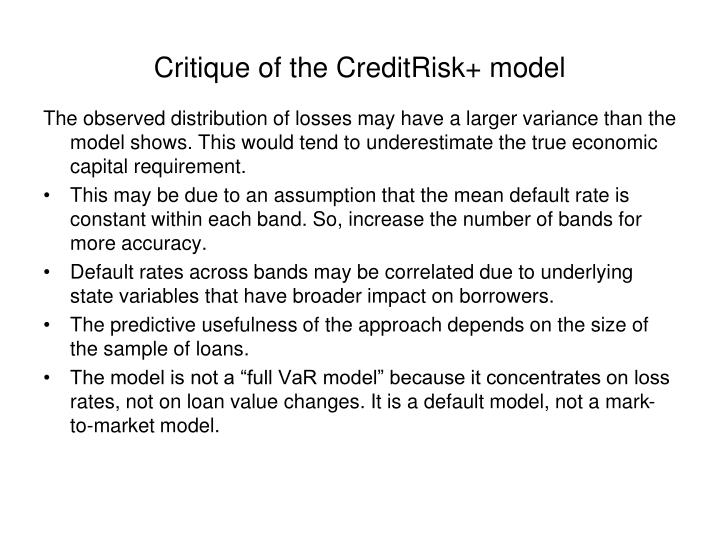 Critique of the CreditRisk+ model