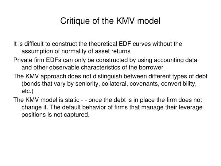 Critique of the KMV model