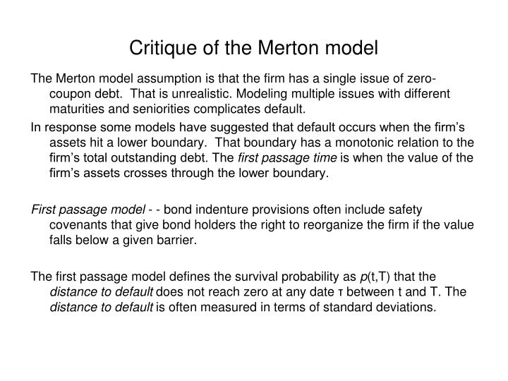 Critique of the Merton model