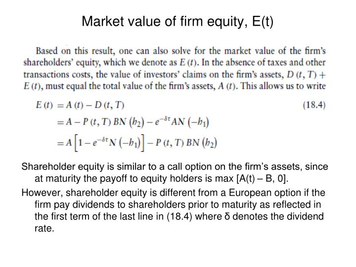 Market value of firm equity, E(t)