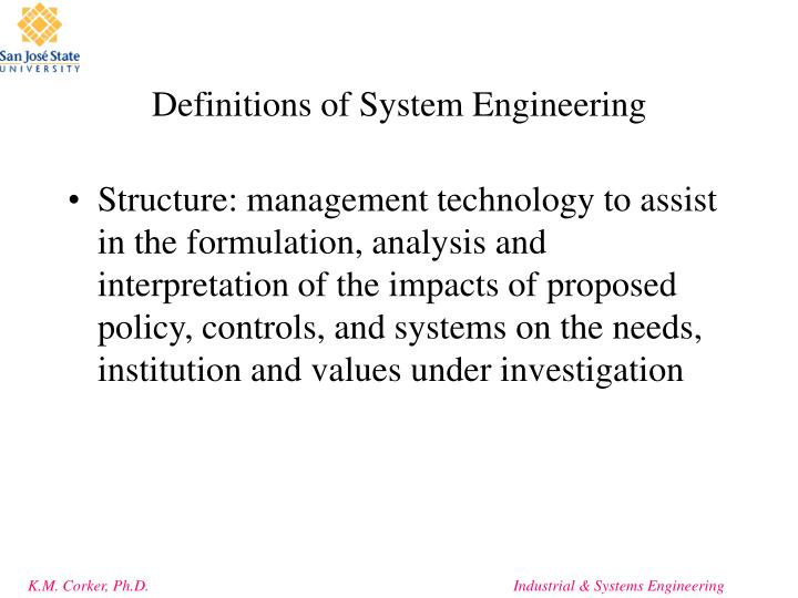 Definitions of system engineering