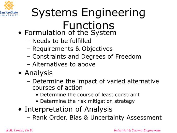 Systems Engineering Functions