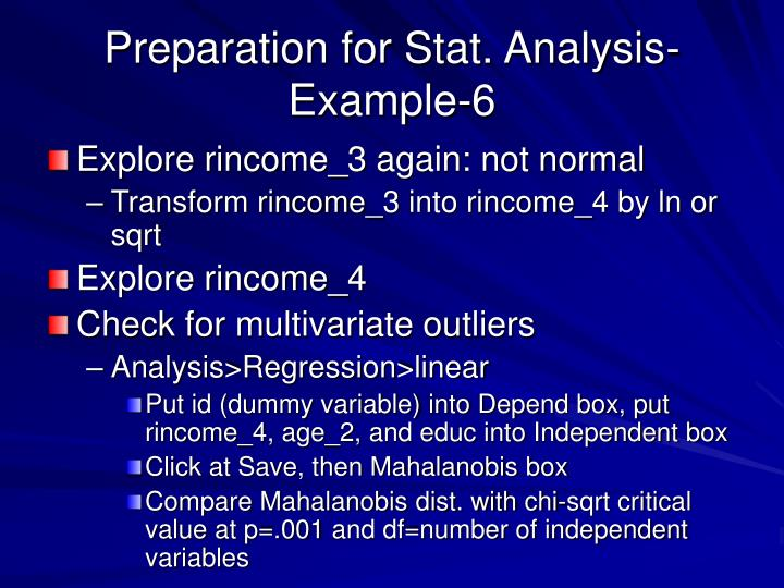 Preparation for Stat. Analysis-Example-6