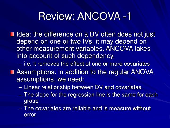 Review: ANCOVA -1