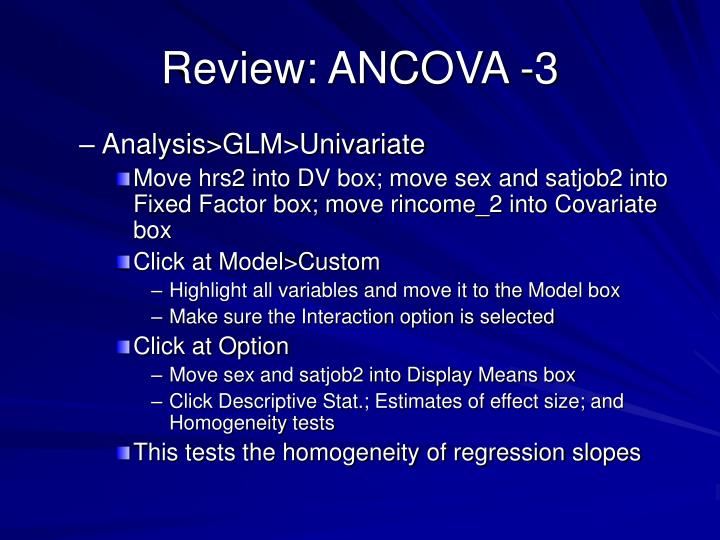 Review: ANCOVA -3