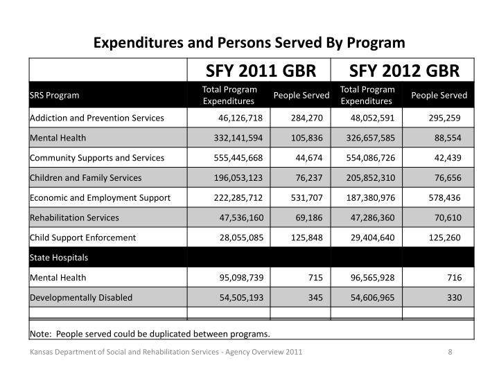 Expenditures and Persons Served By Program