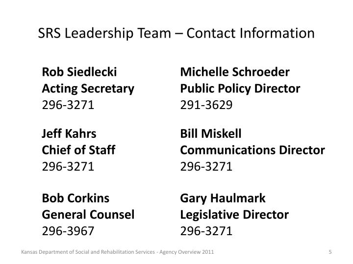 SRS Leadership Team – Contact Information