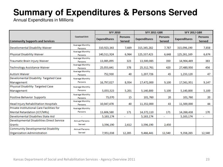 Summary of Expenditures & Persons Served