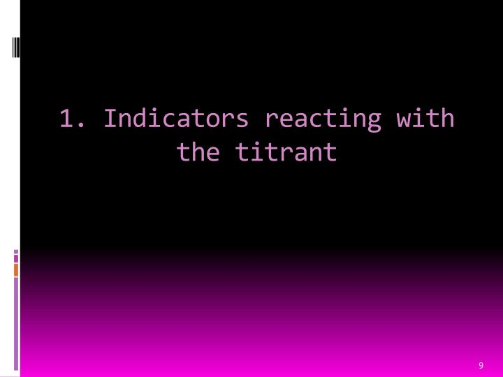 1. Indicators reacting with the