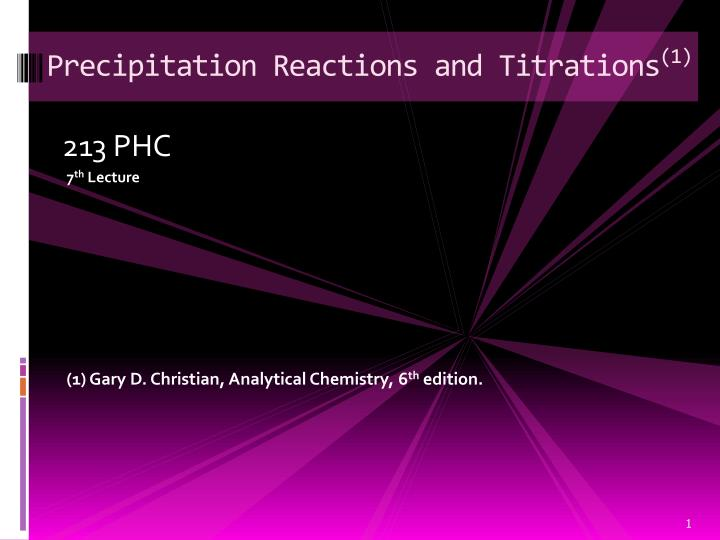 precipitation reactions and titrations 1