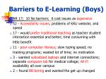 barriers to e learning boys