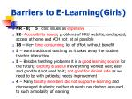 barriers to e learning girls