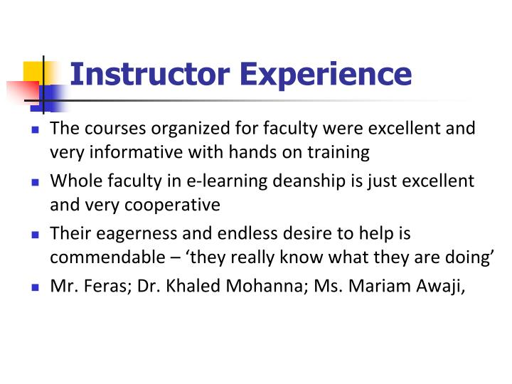 Instructor Experience