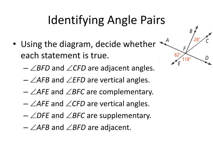 Identifying Angle Pairs