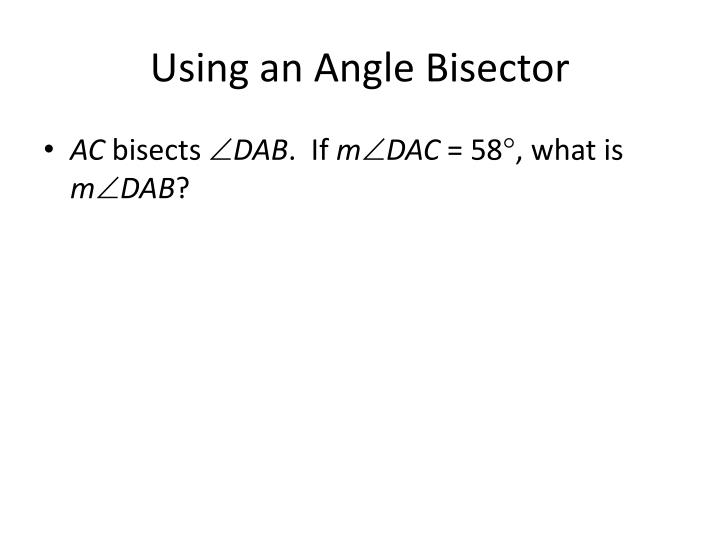 Using an Angle Bisector