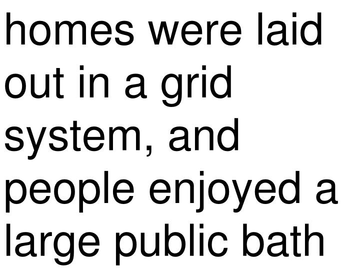 homes were laid out in a grid system, and people enjoyed a large public bath