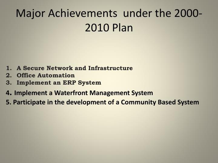 Major Achievements  under the 2000-2010 Plan