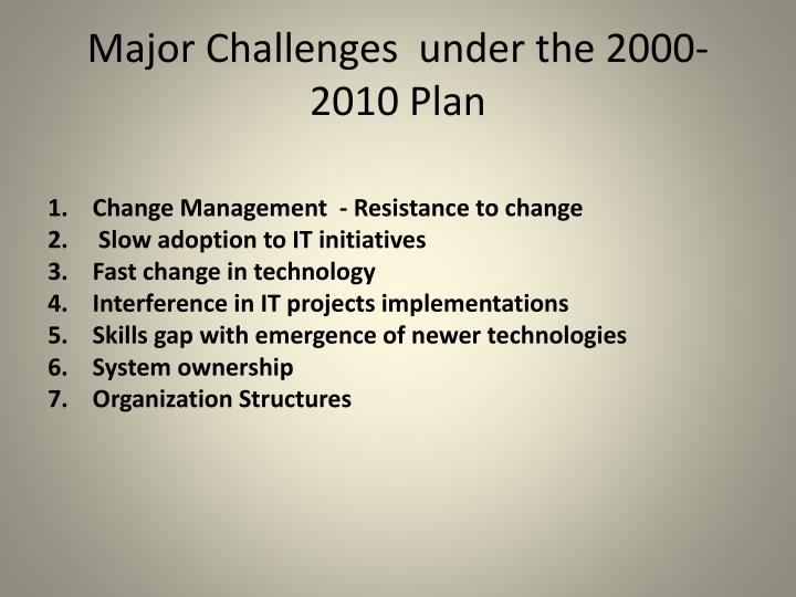 Major Challenges  under the 2000-2010 Plan