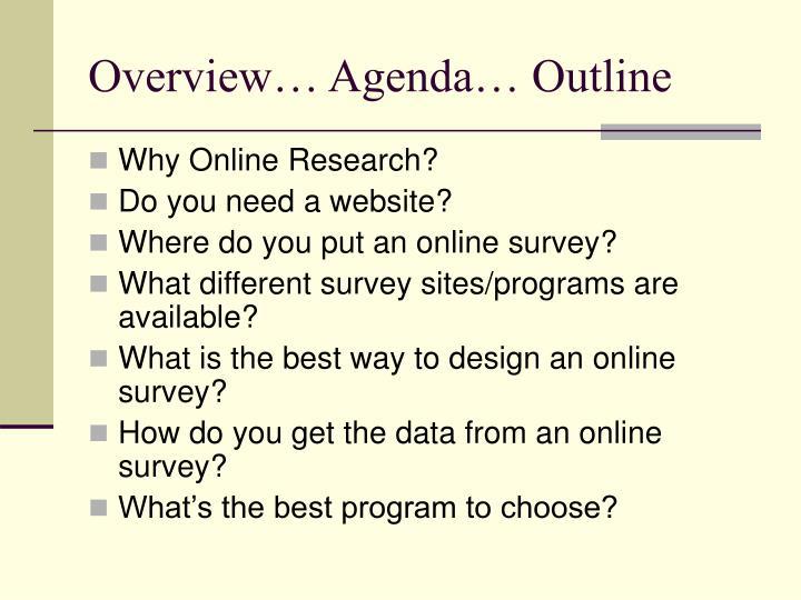 Overview… Agenda… Outline