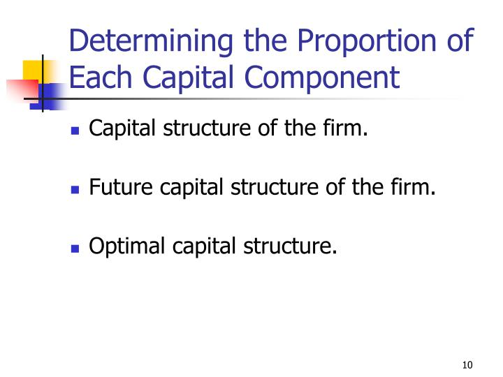 Determining the Proportion of Each Capital Component
