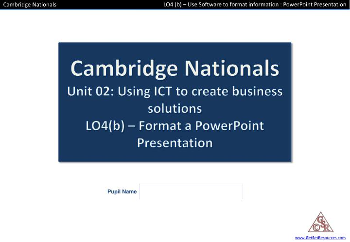 Lo4 b use software to format information powerpoint presentation