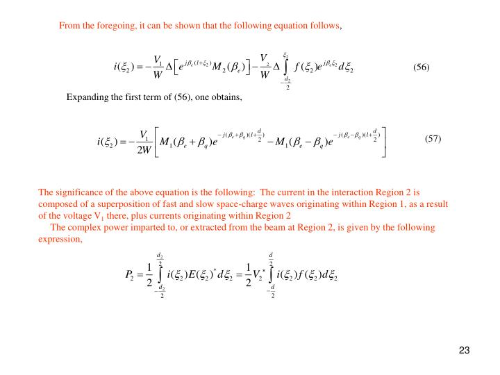 From the foregoing, it can be shown that the following equation follows