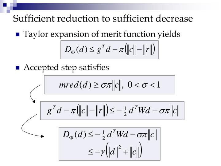 Sufficient reduction to sufficient decrease