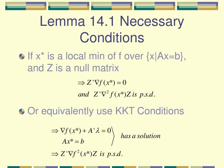 Lemma 14.1 Necessary Conditions