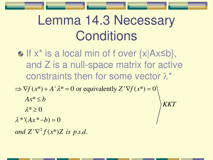 Lemma 14.3 Necessary Conditions